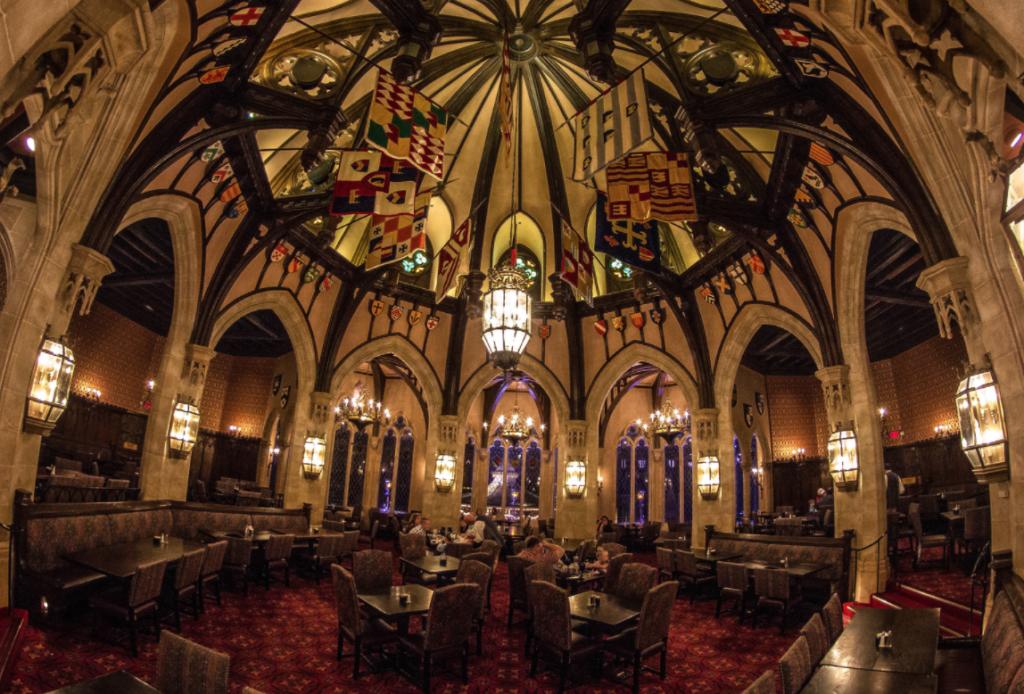 cinderella's royal table is in cinderella's castle in magic kingdom. this is probably the hardest advanced dining reservation to get at Disney World.